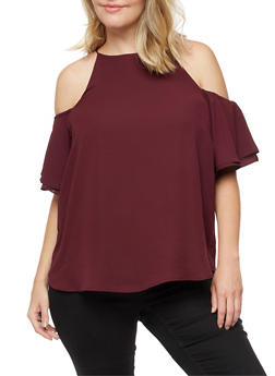 Plus Size Cold Shoulder Top with Layered Sleeve - BURGUNDY - 3812051069594