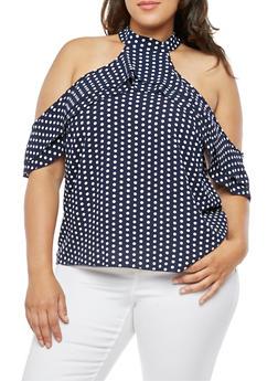 Plus Size Polka Dot Cold Shoulder Top - 3812054260913