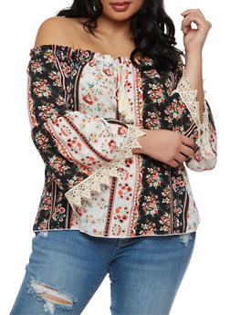 Plus Size Off the Shoulder Peasant Top with Crochet Trim - 3812054262450
