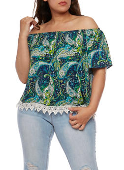 Plus Size Off the Shoulder Printed Top with Crochet Detail - 3812054263351