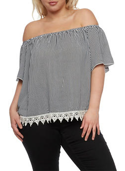 Plus Size Striped Off the Shoulder Top with Crochet Trim - 3812054263511