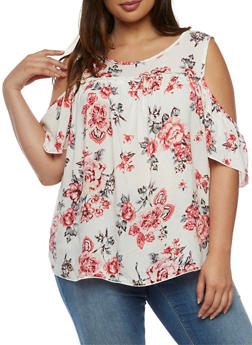 Plus Size Floral Cold Shoulder Top - 3812054264974