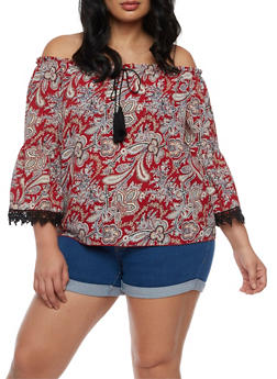 Plus Size Printed Off the Shoulder Top with Crochet Trim - 3812054265024