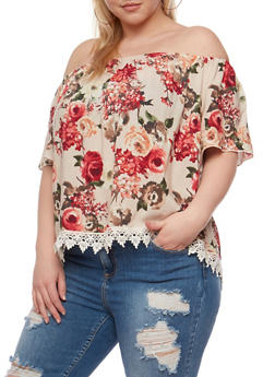 Plus Size Off the Shoulder Floral Top with Crochet Hem - 3812054265133