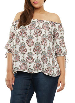 Plus Size Off the Shoulder Printed Top - 3812054267249