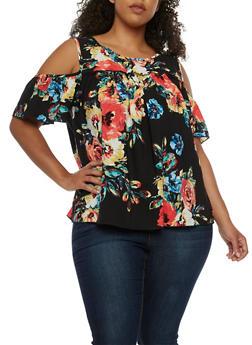 Plus Size Cold Shoulder Floral Top - 3812054267449
