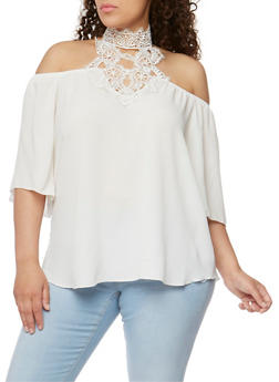 Plus Size Off the Shoulder Top with Crochet Halter Neck - 3812058601416