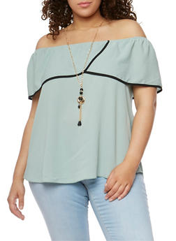 Plus Size Off the Shoulder Contrast Trimmed Top with Necklace - 3812058603804