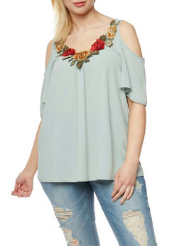 Plus Size Gauzy Cold Shoulder Top with Flower Embroidery - 3812058605576