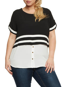 Plus Size High Low Top with Striped Overlay - 3812058751702