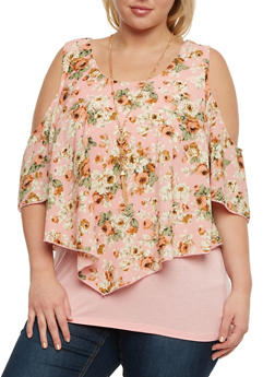 Plus Size Cold Shoulder Floral Top with Necklace - 3812058757345