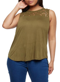 Plus Size Lace Yoke Tank Top - OLIVE - 3813054268103