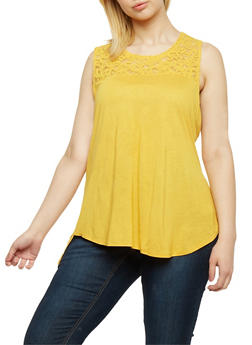 Plus Size Lace Yoke Tank Top - MUSTARD - 3813054268103