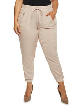 Plus Size Challis Joggers with Zip Pockets - 3816051069285