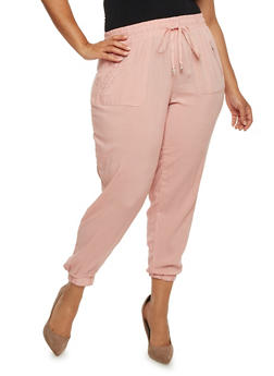 Plus Size Challis Joggers with Zip Pockets - PAGAN ROSE - 3816051069285