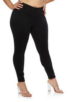 Plus Size Cuffed Ponte Pants - 3816056570251