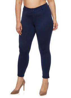Plus Size Cuffed Ponte Pants - 3816056570251