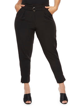 Plus Size Belted Dress Pants - 3816056574078