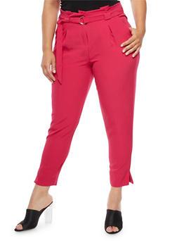 Plus Size Belted Dress Pants - 3816056574078