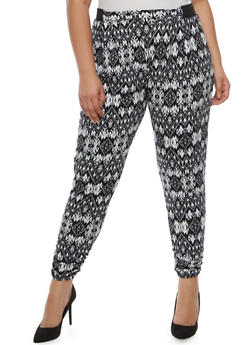 Plus Size Printed Joggers with Ruched Leg Detail - 3816062412071