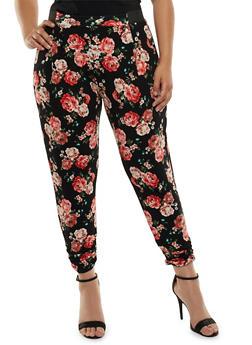 Plus Size Floral Print Ruched Leg Pants - 3816062412072