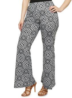Plus Size Soft Knit Printed Palazzo Pants - 3816062416483