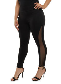 Plus Size Ponte Knit Skinny Pants with Mesh Inserts - 3816062416548