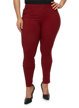 Plus Size Stretch Twill Skinny Pants - 3816068199683