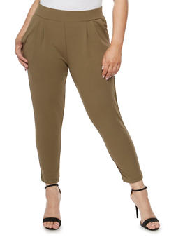 Plus Size Solid Pintucked Ankle Pants - OLIVE - 3816068199799