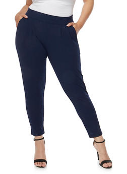 Plus Size Solid Pintucked Ankle Pants - 3816068199799