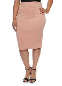 Plus Size Ponte Knit Pencil Skirt - 3817062415949