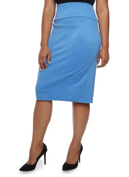 Plus Size Ponte Knit Pencil Skirt - 3817062415949