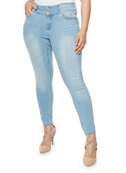 Plus Size Wax Two Button Push Up Skinny Jeans - 3818071610065