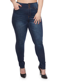 Plus Size WAX High Waisted Push Up Skinny Jeans - 3818071613600