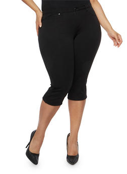 Plus Size Skinny Capri Pants - 3819056572170