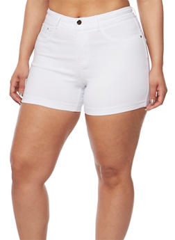 Plus Size Solid Stretch Shorts - WHITE - 3820056576991