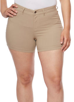 Plus Size Solid Stretch Shorts - 3820056576991