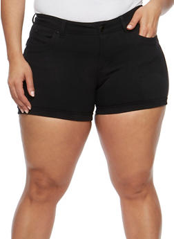 Plus Size Ponte Knit Shorts - 3820068196197