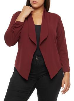 Plus Size Crepe Knit Asymmetrical Blazer - 3821020626887