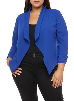Plus Size Crepe Knit Asymmetrical Blazer - 3821020626887