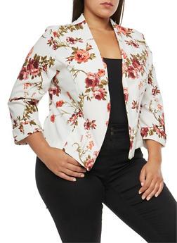 Plus Size Asymmetrical Floral Print Blazer - 3821020629563