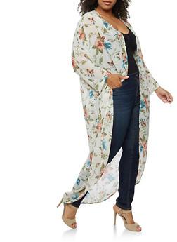 Plus Size Floral Print Kimono - 3821061350119