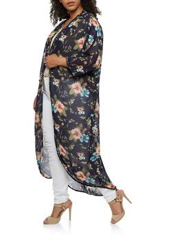 Plus Size Floral Crepe Knit Duster - 3821061350334