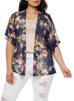 Plus Size Floral Mesh Cardigan - 3821061350428