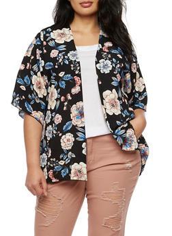 Plus Size Floral Cardigan - 3821061351254