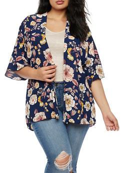 Plus Size Floral Kimono - 3821061351254