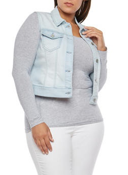 Plus Size WAX Button Front Denim Vest - 3821071619110