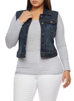 Plus Size WAX Button Front Denim Vest - 3821071619110