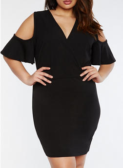 Plus Size Cold Shoulder Bodycon Dress - 3822020625620