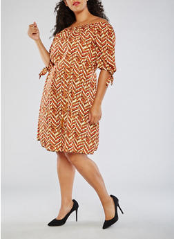Plus Size Printed Off the Shoulder Midi Dress - 3822020626563